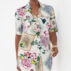 Chico's Soft Floral Tiles Tunic Top - XL/16 - NWT
